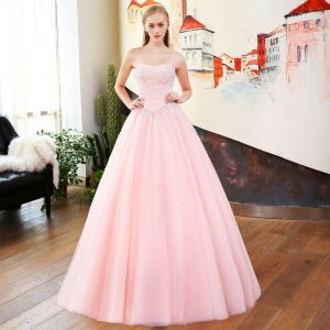 Chic / Beautiful Blushing Pink Beading Prom Dresses 2018 Ball Gown Sequins Sweetheart Backless Sleeveless Floor-Length / Long Formal Dresses