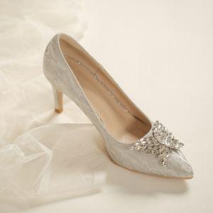 Charmant Argenté Faux Diamant Papillon Chaussure De Mariée 2020 7 cm Talons Aiguilles À Bout Pointu Mariage Escarpins