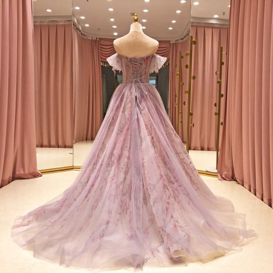 High-end Lavender Prom Dresses 2021 A-Line / Princess Shoulders Short Sleeve Beading Printing Flower Glitter Tulle Sweep Train Ruffle Backless Formal Dresses