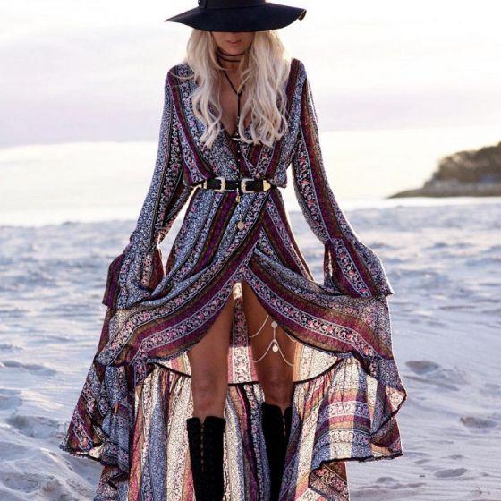 Bohême Multi-Couleurs Plage Été Robes longues 2018 V-Cou Manches Longues Impression Fleur Fendue devant Longue Vêtements Femme