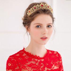 Guld Vintage Roda Strass Mosaik Liten Krona Tiara Brudklänning Tillbehör