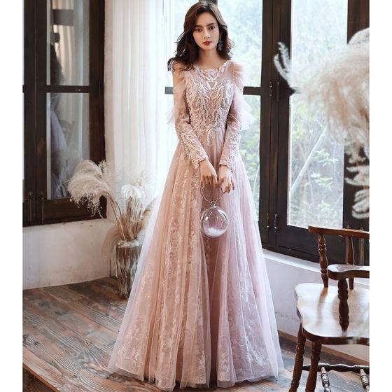 Charming Blushing Pink Evening Dresses  2020 A-Line / Princess Scoop Neck Beading Sequins Lace Flower Long Sleeve Backless Floor-Length / Long Formal Dresses