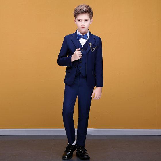 Modest / Simple Royal Blue Tie Navy Blue Boys Wedding Suits 2020