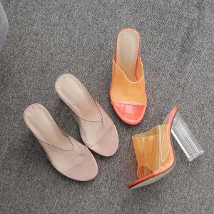 Sexy Transparent Orange Street Wear Womens Sandals 2020 11 cm Thick Heels Open / Peep Toe Sandals