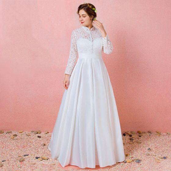 Enkel Elfenben Blonder Blomst Pluss Størrelsen Brudekjoler 2021 Prinsesse Høy Hals Langermede Ryggløse Lange Bryllup