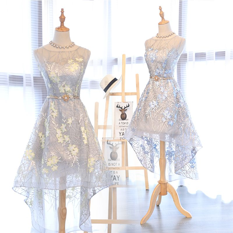 Chic / Beautiful Homecoming Graduation Dresses 2017 A-Line / Princess Square Neckline Zipper Up Sleeveless Short