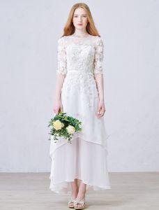 A-ligne De Fleurs À La Main Percées Robe De Mariée En Dentelle De Plage