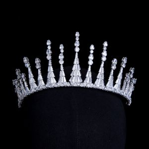 Klassisk Sølv Zircon Tiara Hårpynt 2020 Bryllups Accessories