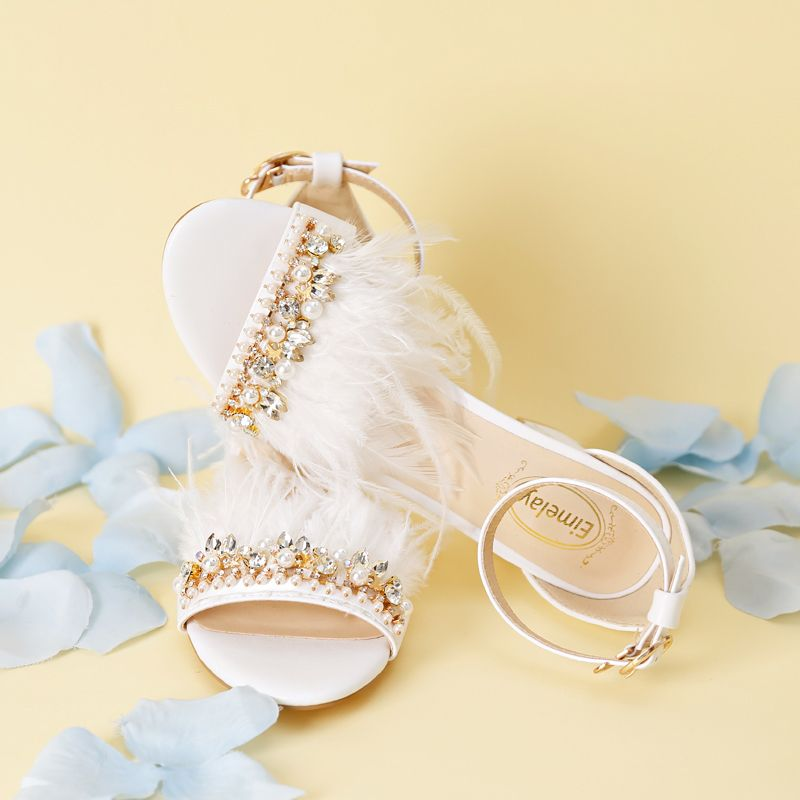 Chic / Beautiful White Office Rhinestone Beading Crystal Feather Womens Shoes 2018