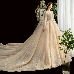 Chic / Beautiful Champagne See-through Wedding Dresses 2020 Ball Gown Square Neckline Long Sleeve Backless Glitter Tulle Appliques Lace Beading Cathedral Train Ruffle