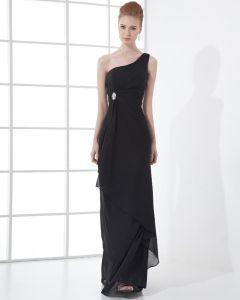 Mode Chiffon Faltete Wulstige Ein Schultergurt Bodenlangen Abendgesellschaft Kleid
