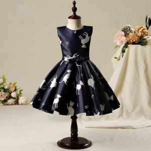 Chic / Beautiful Hall Wedding Party Dresses 2017 Flower Girl Dresses Black Short A-Line / Princess Printing Cascading Ruffles Scoop Neck Sleeveless Bow Sash