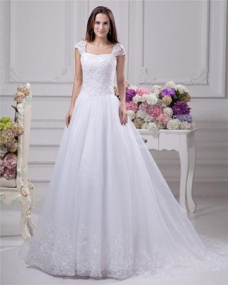 Fyrkantiga Spets Beading Golv Langd Satin Kvinnor En Linje Brudklänningar Bröllopsklänningar