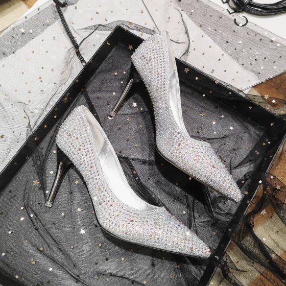 Charmant Zilveren Kristal Bruidsschoenen 2020 Rhinestone 7 cm Naaldhakken / Stiletto Spitse Neus Huwelijk Pumps