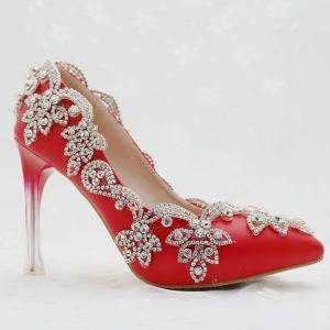 Chinese Stijl Rode Bruidsschoenen 2018 Rhinestone 9 cm Kristal Naaldhakken / Stiletto Spitse Neus Huwelijk Pumps
