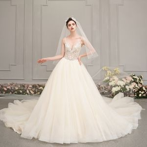 Illusion Champagne Wedding Dresses 2019 A-Line / Princess Spaghetti Straps Sleeveless Backless Appliques Lace Pierced Beading Glitter Tulle Cathedral Train Ruffle