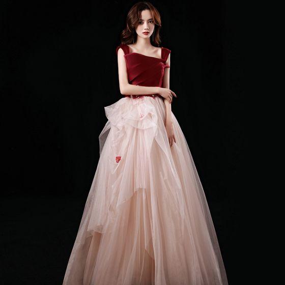 Dos colores Rojo Champán Vestidos de gala 2021 A-Line / Princess Fuera Del Hombro Manga Corta Apliques Con Encaje Rebordear Largos Ruffle Sin Espalda Vestidos Formales
