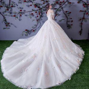 Schöne Weiß Brautkleider 2018 Ballkleid Multifarben Applikationen Perle Off Shoulder Rückenfreies Ärmellos Kathedrale Schleppe Hochzeit