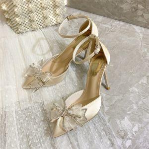 Mote Aprikos Aften Sandaler Dame 2020 Lær Rhinestone Sløyfe Ankelstropp 9 cm Stiletthæler Spisse Sandaler