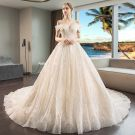 Luxus / Herrlich Champagner Brautkleider / Hochzeitskleider 2019 Ballkleid Perlenstickerei Pailletten Off Shoulder Kurze Ärmel Rückenfreies Königliche Schleppe