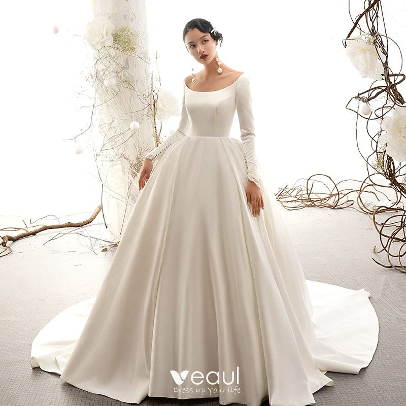 Vintage Wedding Gowns Pictures: Vintage / Retro Ivory Satin Wedding Dresses 2019 Ball Gown
