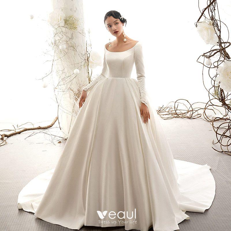 Vintage Retro Ivory Satin Wedding Dresses 2019 Ball Gown Scoop