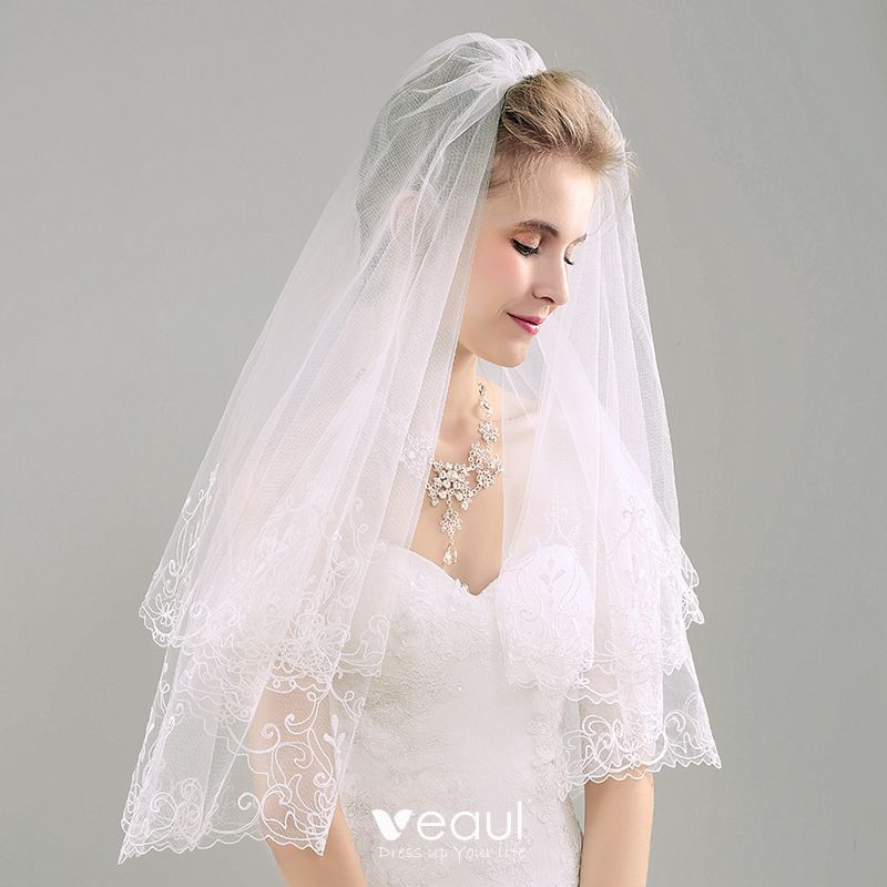Elegant 2017 1 m Ivory Appliques Lace Tulle Wedding Veils