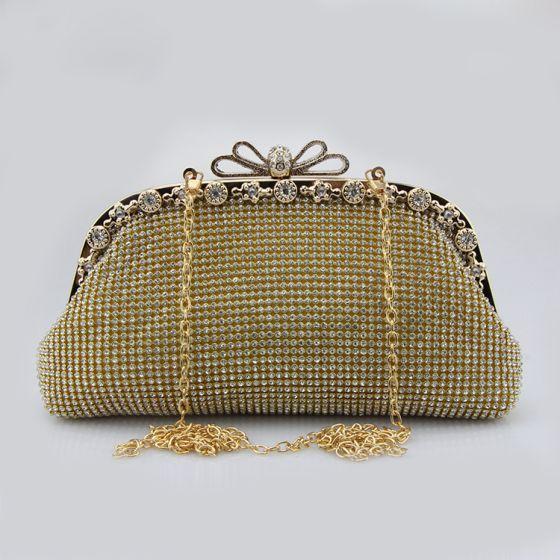 Glitter Bling Bling Goud Handtassen Kralen Rhinestone Velour Metaal Feest Avond Accessoires 2019