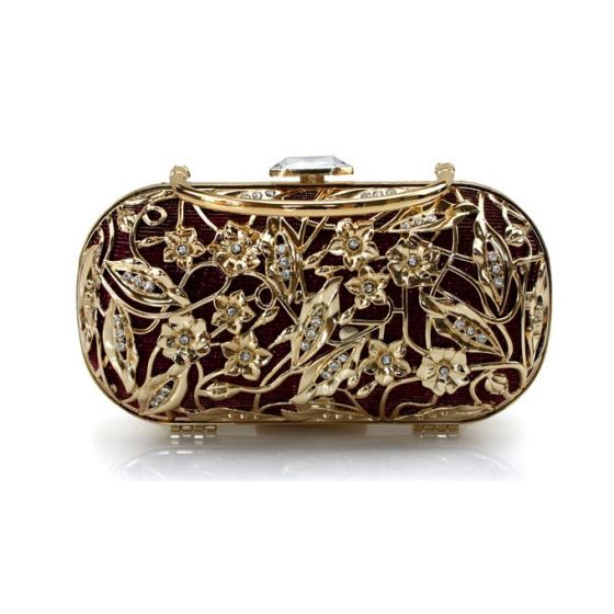 Compact Flowers Hollow Clutch Bag Retro Mobile Packet Banquet Cheongsam