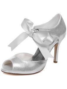 Sparkly Bruidssandalen Met Enkelband 9 cm Naaldhakken Zilver Bruidsschoenen Peep Toe Glitter Hoge Hak