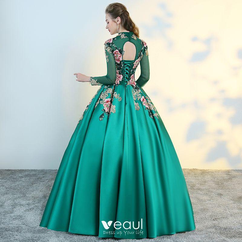 Chinesischer Stil Grün Durchsichtige Ballkleider 2018 ...