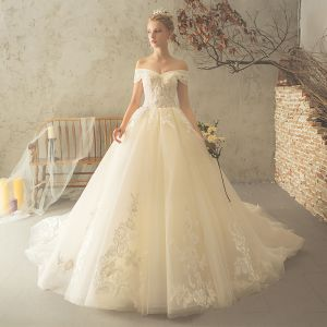 Elegant Champagne Wedding Dresses 2018 Ball Gown Backless Beading Lace Flower Sequins Off-The-Shoulder Short Sleeve Cathedral Train Wedding