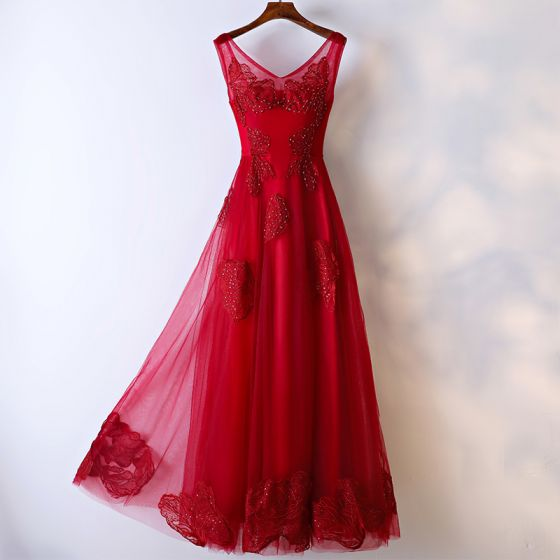 Chic / Beautiful 2017 Red Formal Dresses Evening Dresses  Lace Sequins Flower Sleeveless V-Neck Ankle Length Empire