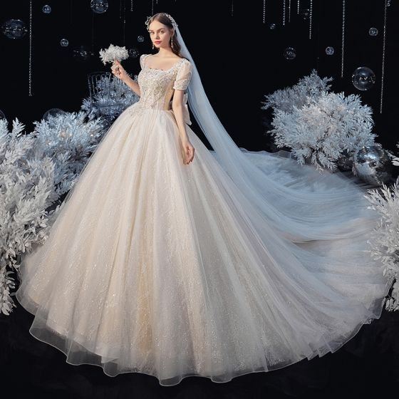 Vintage / Retro Champagne Bridal Wedding Dresses 2020 Ball Gown Square Neckline Puffy Short Sleeve Backless Bow Beading Glitter Tulle Cathedral Train Ruffle
