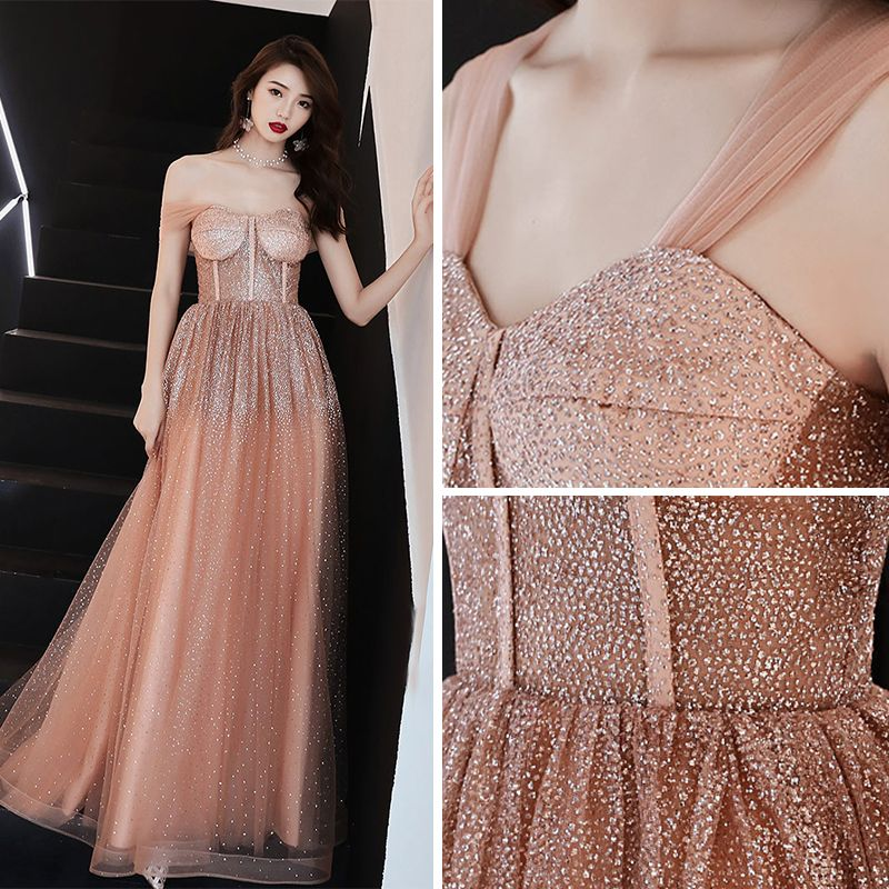 Sexy Orange Prom Dresses 2019 A-Line / Princess Off-The-Shoulder Short Sleeve Glitter Tulle Floor-Length / Long Ruffle Backless Formal Dresses