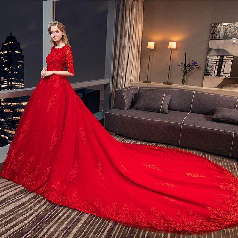 Modern / Fashion Red Wedding Dresses 2018 A-Line / Princess Appliques Lace Crystal Scoop Neck 3/4 Sleeve Royal Train Wedding
