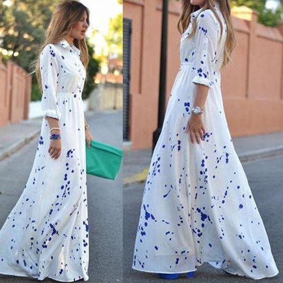 Mode Hvide Maxikjoler 2018 V-Hals 3/4 De Las Mangas Trykning Lange Tøj til kvinder