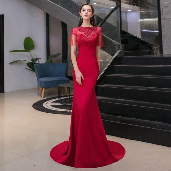Eleganckie Burgund Przezroczyste Sukienki Wieczorowe 2020 Syrena / Rozkloszowane Wycięciem Kótkie Rękawy Aplikacje Z Koronki Cekiny Frezowanie Kutas Rhinestone Trenem Sweep Wzburzyć Bez Pleców Sukienki Wizytowe