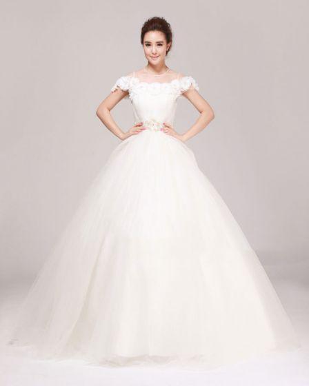 Jewel Rhinestone Ruffle Floor Length Tulle A Line Wedding Dress