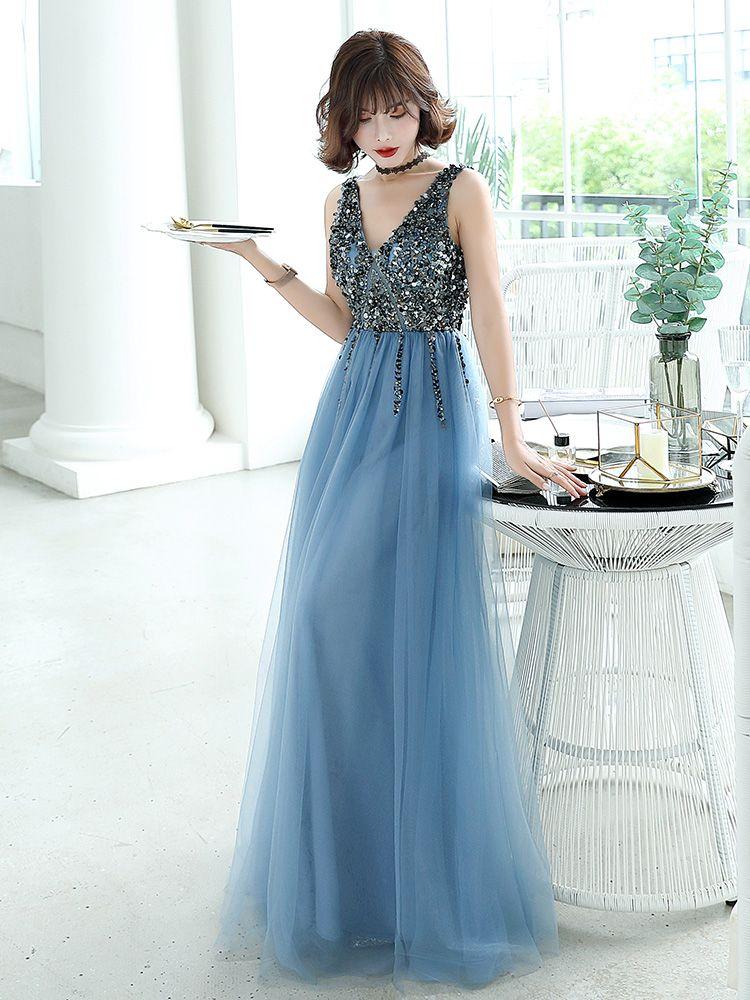 Charming Ocean Blue Evening Dresses  2019 A-Line / Princess V-Neck Beading Crystal Sleeveless Backless Floor-Length / Long Formal Dresses