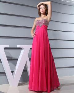 Chiffon Silk Like Satin Silk Beading Sweetheart Sleeveless Backless Zipper Floor Length Pleated Evening Dress