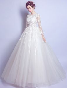 Princess A-line Wedding Dresses 2017 Scoop Neck Applique Flowers And Laces White Tulle Bridal Gowns
