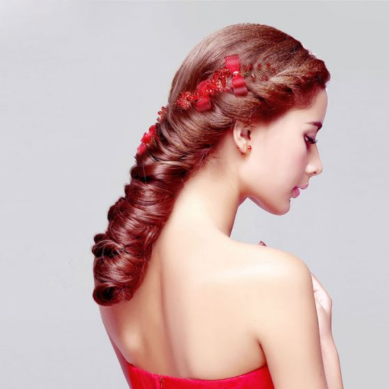 Red Crystal Pearl Bridal Headdress /Head Flower / Wedding Hair Accessories / Wedding Jewelry