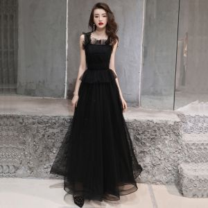 Simple Noire Robe De Soirée 2019 Princesse épaules Sans Manches Perlage Longue Volants Dos Nu Robe De Ceremonie