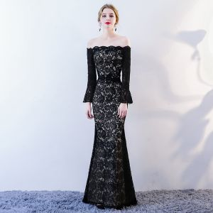 Chic / Beautiful Black Evening Dresses  2018 Trumpet / Mermaid Lace Flower Off-The-Shoulder Backless Long Sleeve Floor-Length / Long Formal Dresses