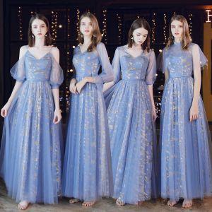 Betaalbare Oceaan Blauw Doorzichtige Bruidsmeisjes Jurken 2020 A lijn Ruglooze Glans Tule Lange Ruche