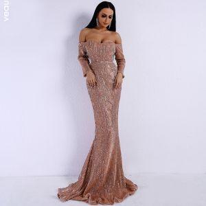 Glitzernden Rose Gold Pailletten Abendkleider 2020 Meerjungfrau Off Shoulder 3/4 Ärmel Sweep / Pinsel Zug Rüschen Rückenfreies Festliche Kleider