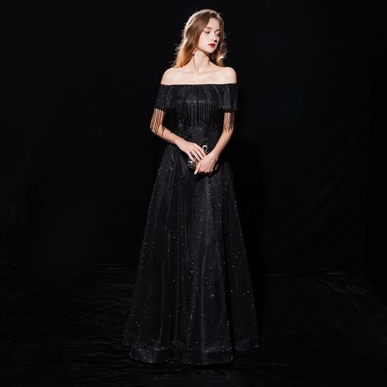Starry Sky Black Evening Dresses  2019 A-Line / Princess Off-The-Shoulder Short Sleeve Tassel Glitter Polyester Floor-Length / Long Ruffle Backless Formal Dresses