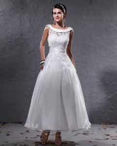 Elegantes Garn Charmeuse Perlen Rundhals Kurzen Brautkleider Mini