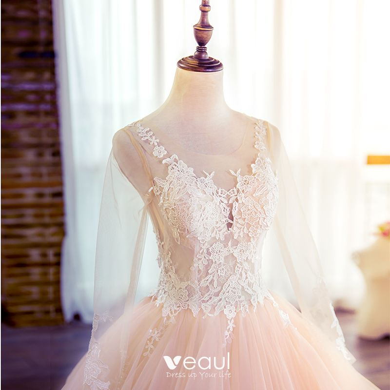 Wedding Dresses 2018 Couture Ball Gowns Elegant Royal: Elegant Champagne Puffy Wedding Dresses 2018 Ball Gown